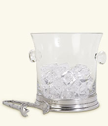 Crystal Ice Bucket w/Handles and Tongs Set