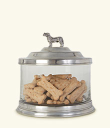 Glass Cookie Jar w/Dog Finial