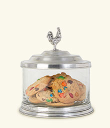 Glass Cookie Jar w/Rooster Finial