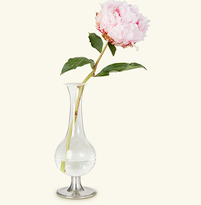 Match Pewter Footed Glass Bud Vase
